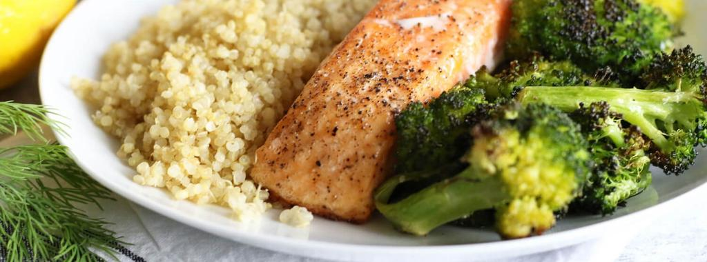 Baked Salmon with Broccoli & Quinoa 7 ingredients 20 minutes 4 servings 1. Preheat the oven to 450 degrees F and line a baking sheet with parchment paper. 2. Place the salmon fillets on the baking sheet and season with sea salt and black pepper.