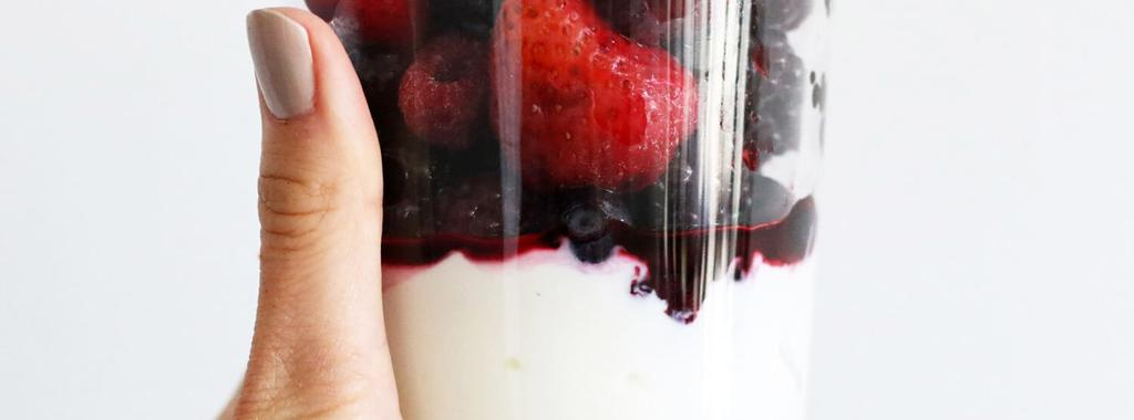 Coconut Yogurt & Berries 2 ingredients 5 minutes 1 serving 1. Divide yogurt into glasses or bowls. Top with thawed frozen fruit. (Do the reverse if you like the fruit on the bottom.