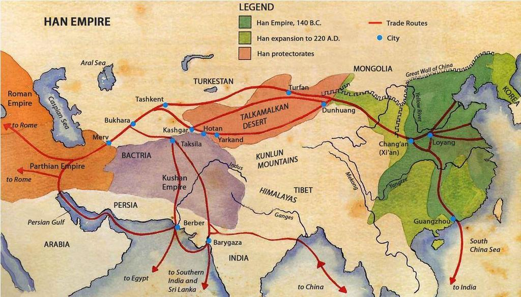 Trade routes to the West developed Major trade route = Silk Road Linked East & West