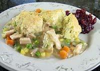 "SAVORY TURKEY COBBLER This savory ""Gobbler"" cobbler is yet another great way to enjoy leftover turkey."