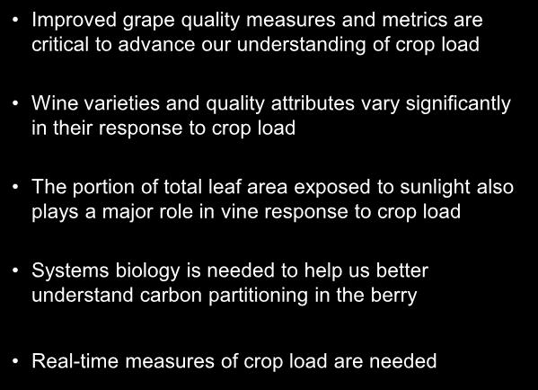 Improved grape quality measures and metrics are critical to advance our understanding of crop load varieties