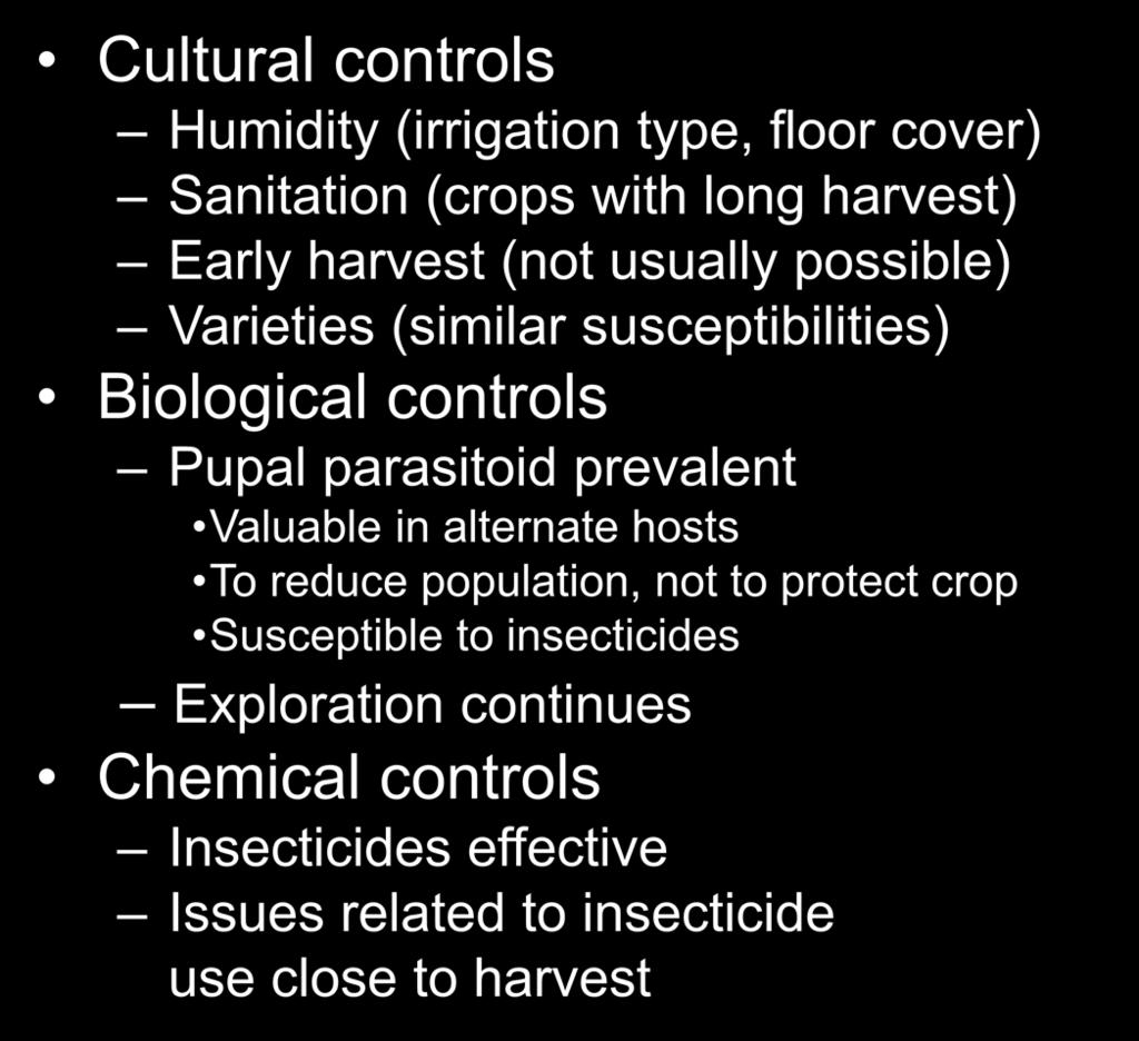 Control Programs Cultural controls Humidity (irrigation type, floor