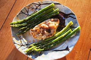 Lay on a baking sheet and roast until tender and lightly browned, about 10-12 minutes. While the asparagus is cooking, heat the remaining oil in a skillet and add the shallots.