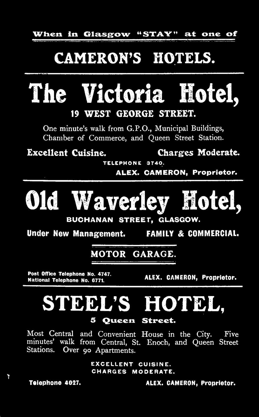 CAMERON, Proprietor. STEEL S HOTEL, 5 Queen Street. Most Central and Convenient House in the City.