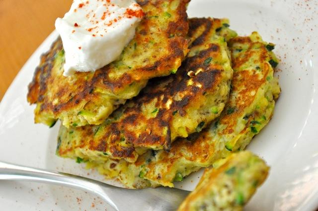 Real Healthy Zucchini Cakes This recipe is very light, with no potato or gluten weighing it down. Top it with a dollop of plain Greek yogurt and a sprinkle of sweet paprika.