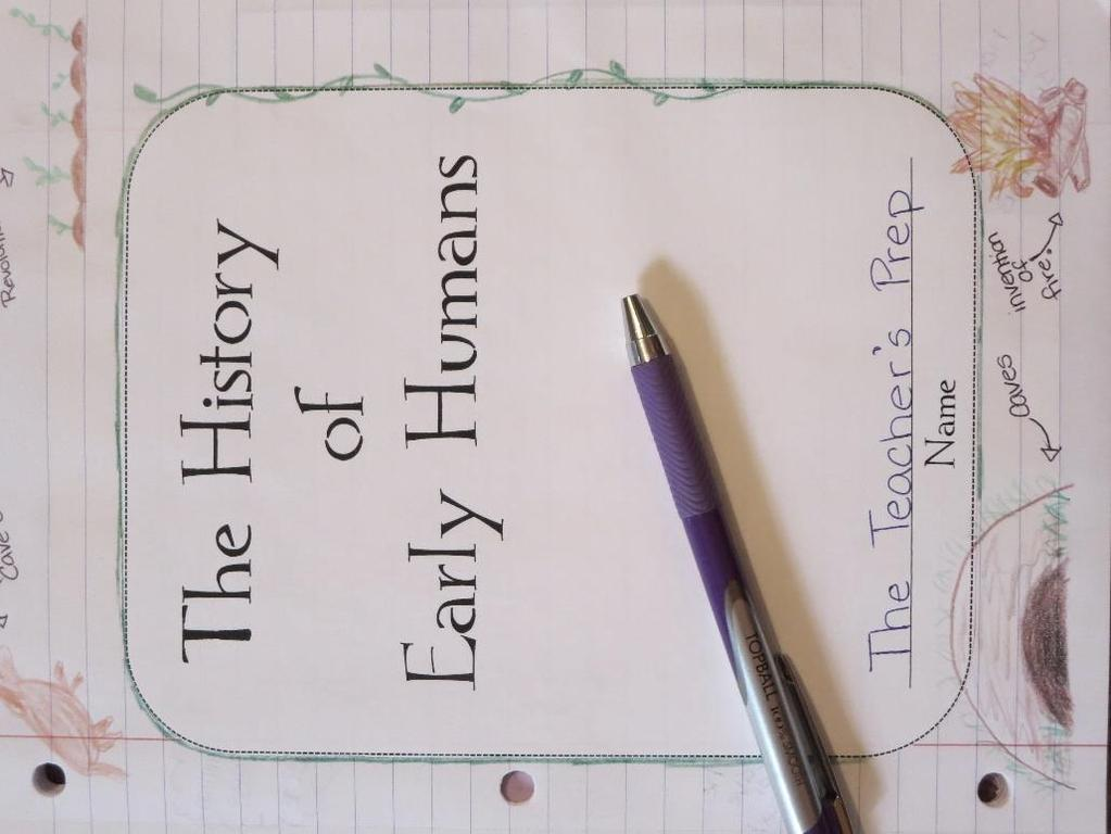 Early Humans Interactive Notebook Cover Page Students can draw pictures on the
