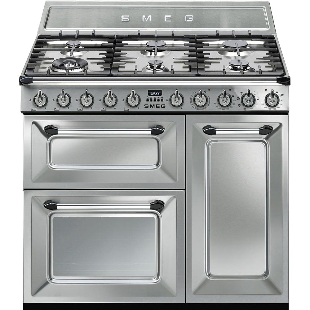 "TR93X 90cm """" Traditional Dual fuel 3 cavity Cooker with Gas hob, Stainless Steel Energy rating AB EAN13: 8017709191016 Special promotion on this model* 5 year guarantee on parts and labour if"