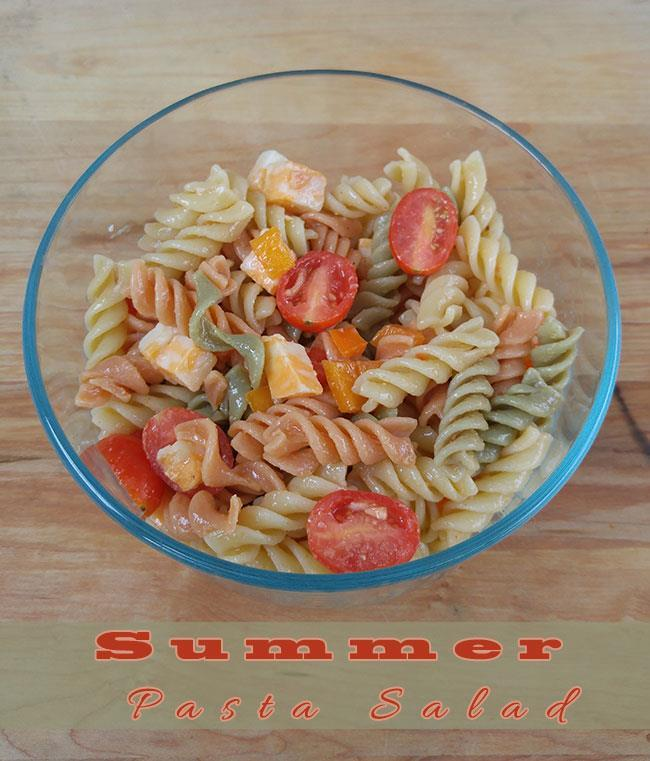 Summer Pasta Salad Recipe 10oz Rotini Garden Pasta 1/2 cup cherry tomatoes (halved) 1 red bell pepper (diced) 1 cup cubed Colby/Jack cheese 1/8 cup Balsamic Vinaigrette 1/2 tbsp.