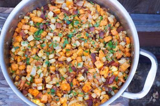 Yam, Celery Root & Bacon Hash Planned for Supper on Wednesday, January 3, 2018 Source: www.rubiesandradishes.