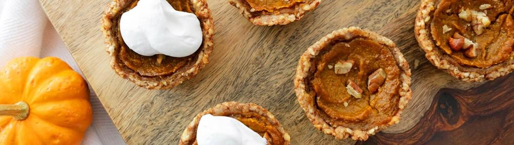 Pumpkin Pie Tarts with Coconut Whipped Cream 13 ingredients 2 hours 12 servings 1. Pulse the almonds and cashews in a food processor.