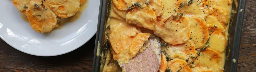 Scalloped Sweet Potatoes 9 ingredients 1 hour 6 servings 1. Peel and slice sweet potatoes to approximately 1/8-inch thick or use a mandoline. Thinly slice the onions and set aside. 2.