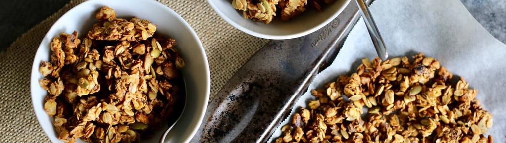 Pumpkin Spice Granola 10 ingredients 40 minutes 12 servings 1. Preheat oven to 350 degrees F and line a baking sheet with parchment paper. 2.