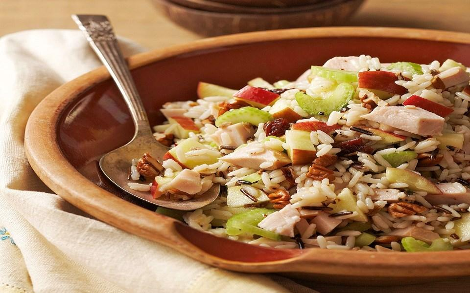 Turkey Wild Rice Salad 1 6 ounce package long grain and wild rice mix 8 ounces turkey breast, chopped 1 medium apple, cored and chopped 1 stalk celery, thinly sliced 1/4 cup dried cherries 1/4 cup