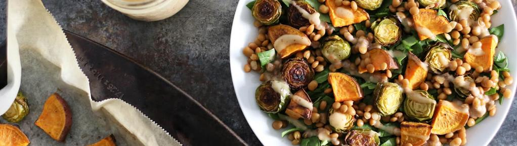 Roasted Sweet Potato & Brussels Sprouts Salad #lunch #dinner #vegetarian #vegan #eggfree #glutenfree #nutfree #dairyfree 11 ingredients 30 minutes 3 servings 1. Preheat the oven to 425 degrees F.