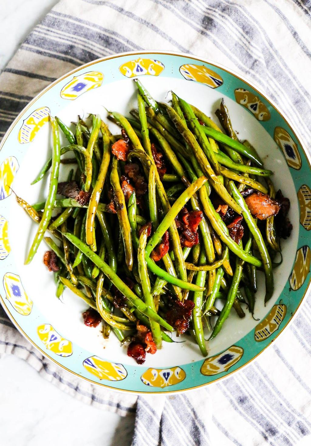 Bacon-Balsamic Green Beans For the Green Beans: 6 strips bacon 16 oz.