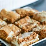 SMALLER FAMILY- CREAM CHEESE AND PUMPKIN ROLL BARS D E S S E R T Serves: 20 bars Prep Time: 10 Minutes Cook Time: 35 Minutes Cake 6 Tablespoons butter (melted) 1 1/2 cups sugar 2 eggs 1 (15 ounce)