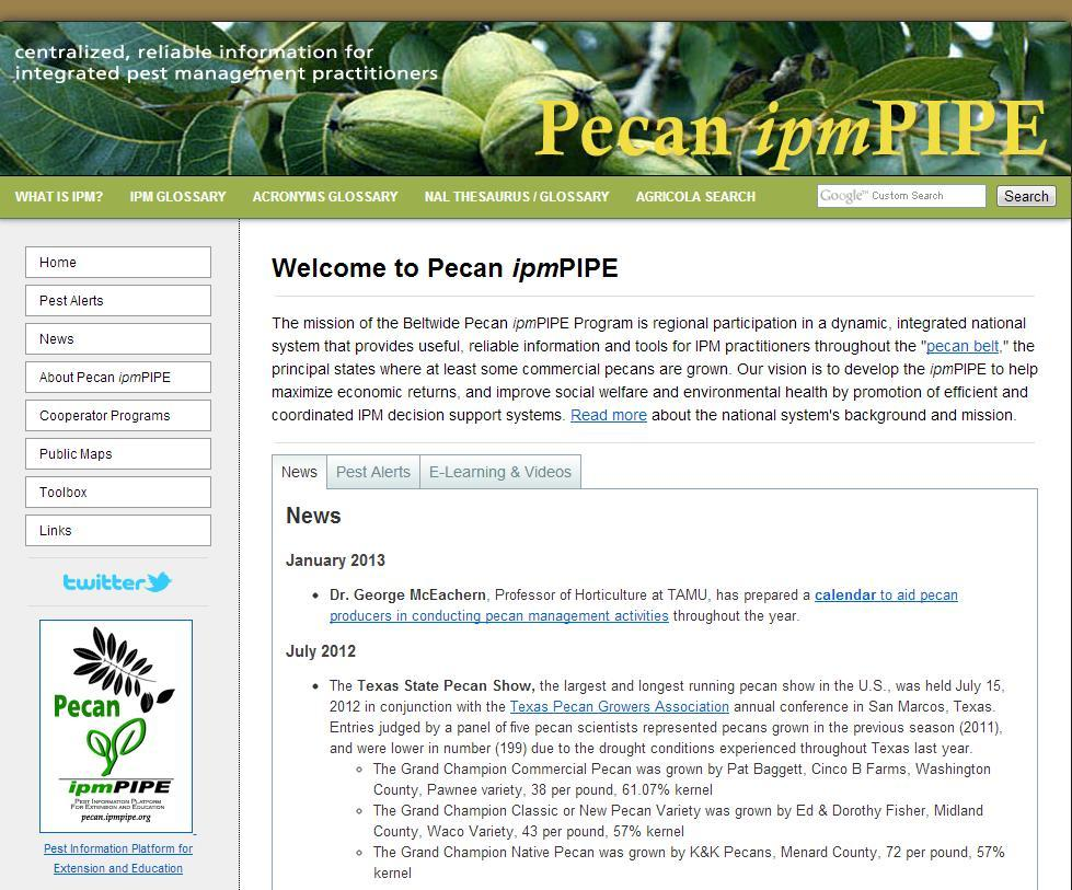 A website with pecan production