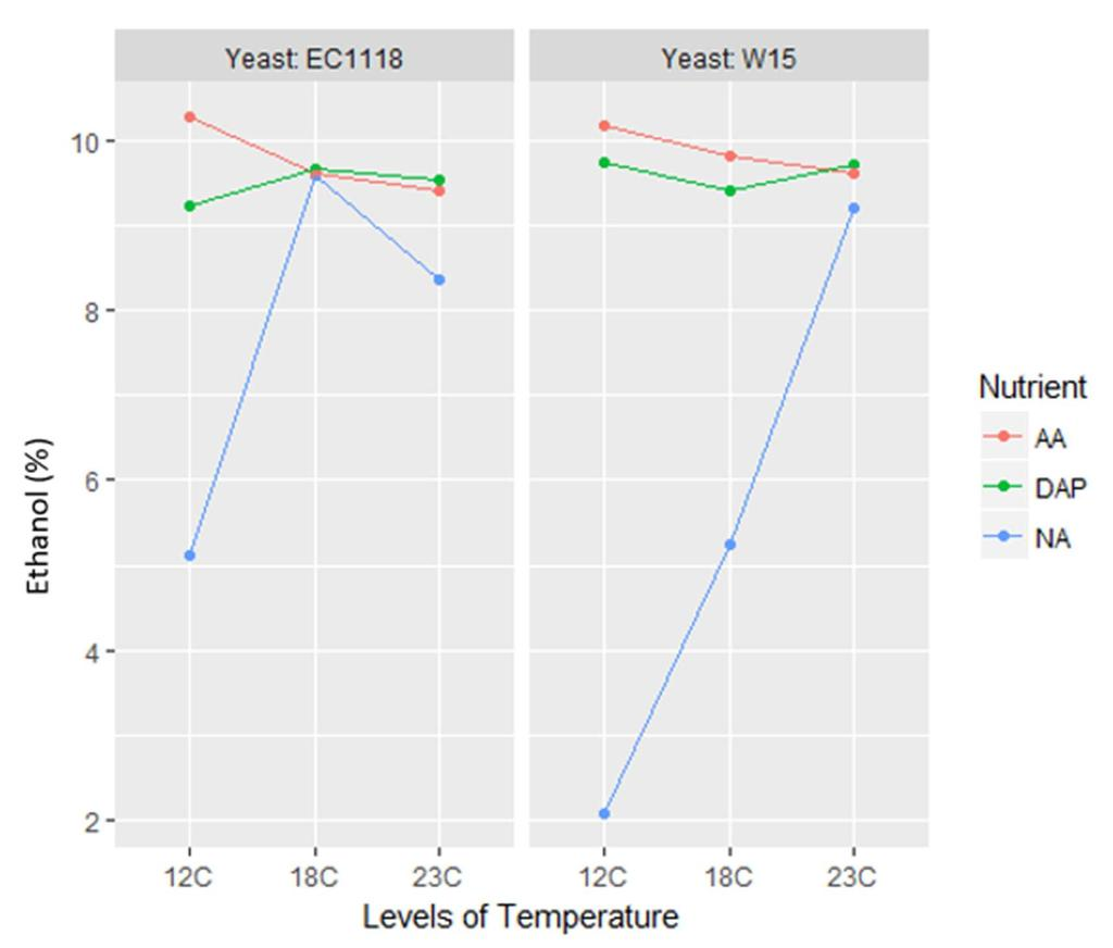 Figure 12. Mean in ethanol content (%) for all treatments Lactic Acid. Yeast strain and fermentation temperature had the most impact of mean lactic acid concentration.