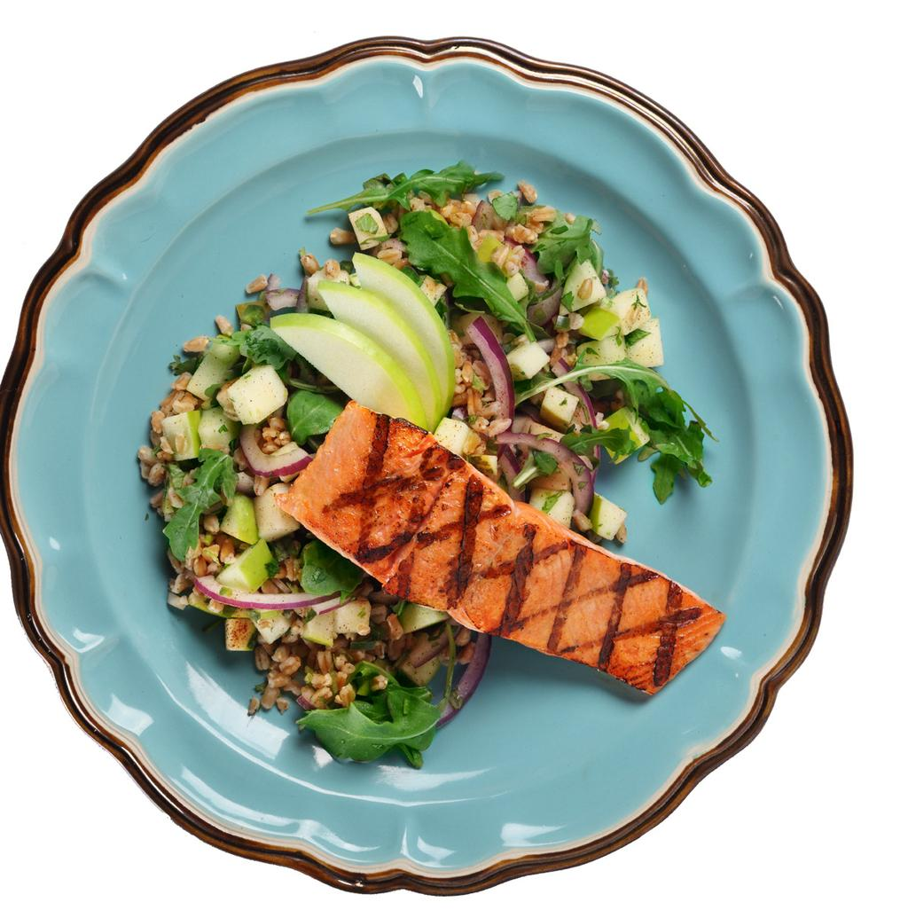 ingredients 1/2 tsp Canola Oil 4 ea Wild Salmon Fillet 3 1/2 oz Farro 1 3/4 cup Water 2 cups Granny Smith Apples, Diced 3 Tbsp Fresh Cilantro, Chopped superfood 1 1/4 tsp Jalapeño Peppers, Diced 1/4