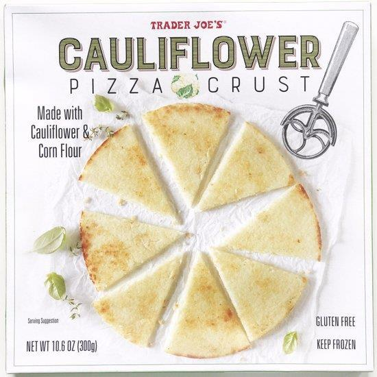 Cauliflower Pizza Total time: 35 mins Servings: 2-3 - Cauliflower pizza crust (can be purchased frozen at Trader Joe s) - Olive oil - Toppings for pizza 1.