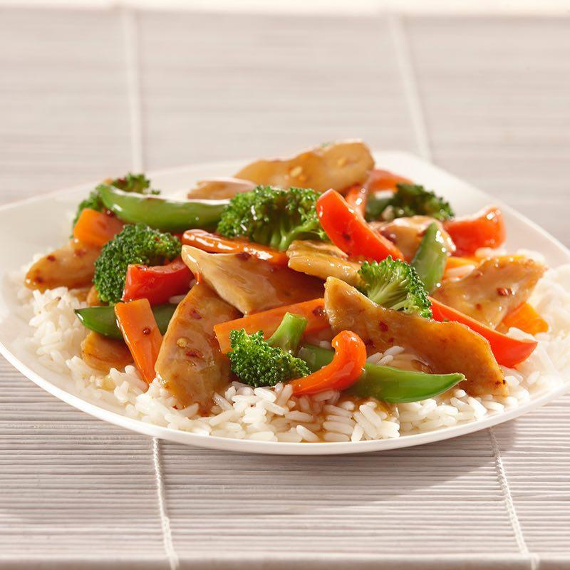 Stir Fry Total time: 35 mins Servings: 8-1 can (14 ½ oz) chicken broth - ¼ cup reduced sodium soy sauce - 2 tbsp. cornstarch - 1 tbsp. sugar - 2 tsp. minced garlic - 1 tbs.