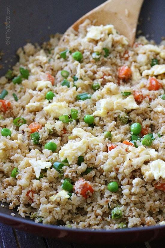 Fried Cauliflower Rice Total time: 30 mins Servings: 4-1 medium head (or 4 cups) cauliflower, rinsed - 1 tbsp.