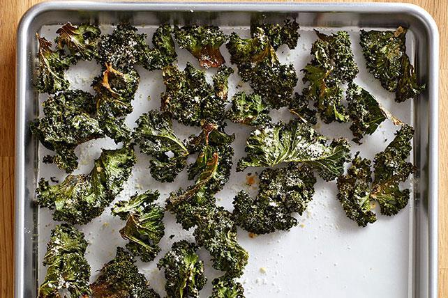 Kale Chips Total time: 25 mins Servings: 4-8 loosely packed cups kale, torn into 1-1½ pieces, tough stems removed - 2 tbsp.