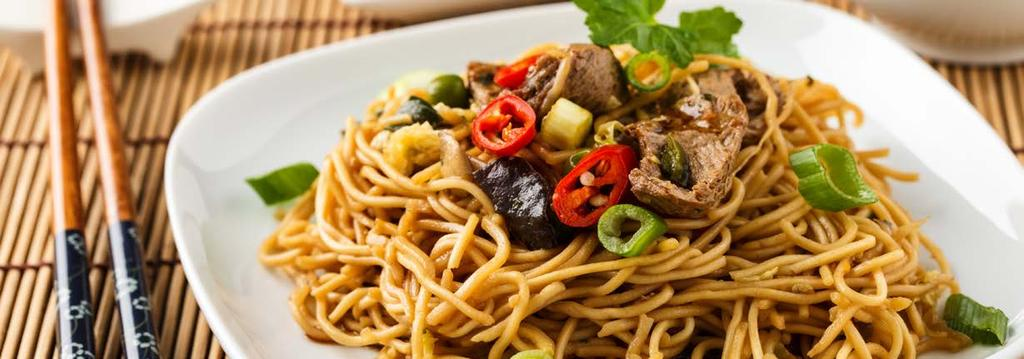 VEGETARIAN LUNCH 10 Lo Mein Cook Time: 40 min Serving: 2 8 ounces lo mein egg noodles* 1 tablespoon olive oil 2 cloves garlic, minced 2 cups cremini mushrooms, sliced 1 red bell pepper, julienned 1