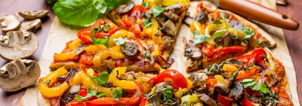 VEGETARIAN DINNER 12 Vegan Pizza Cook Time: 40 min Serving: 2 PIZZA 1/2 of one Trader Joe s garlic-herb pizza crust 1/2 cup each Red, Green and Orange bell pepper, loosely chopped 1/3 cup red onion,