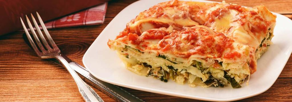 VEGETARIAN DINNER 15 Spinach Lasagna Cook Time: 5 hr 30 min Serving: 6-8 2 packs frozen spinach 2 cups Italian chesse Blend, grated 3/4 cup Parmesan cheese, grated, plus extra for garnish 2 jars