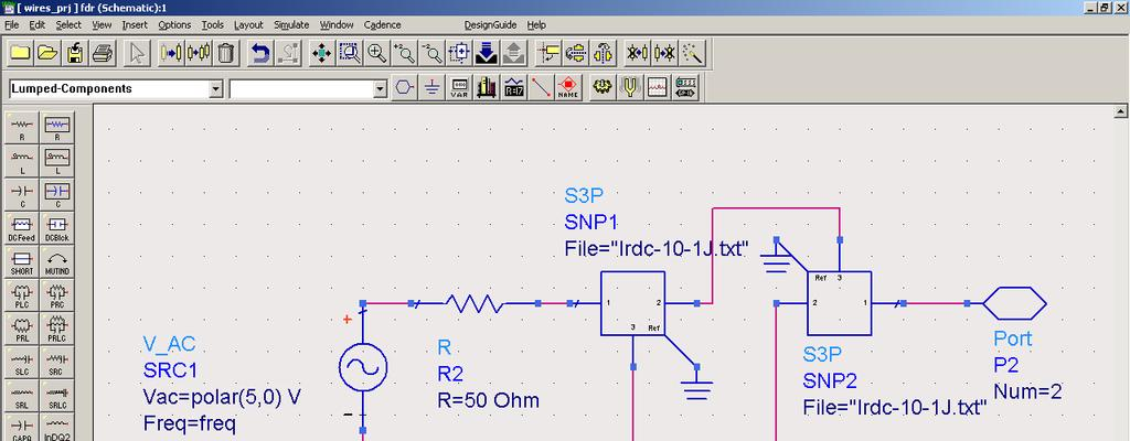 Figure 2. FDR circuit. settings are as shown in the figure. Parameters can be altered by double clicking the component itself, or by single clicking the parameter, and typing the value to be changed.