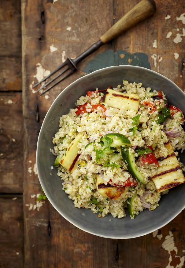 02 Quinoa and halloumi TABBOULEH 1 cup quinoa 1 litre water 1 tbsp NoMU Vegetable Fond 60ml extra virgin olive oil 2 tbsp lemon juice Zest of 1 lemon (optional) ½ tsp sugar NoMU Black Pepper 2 small