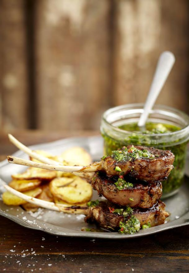 03 LAMB CHOPS WITH CHIMICHURRI Chimichurri sauce 50g fresh parsley, stalks removed 2 sprigs of mint 1 tbsp thyme, stalks removed 1 mild red jalapeno, deseeded 3 garlic cloves, crushed ½ cup of olive