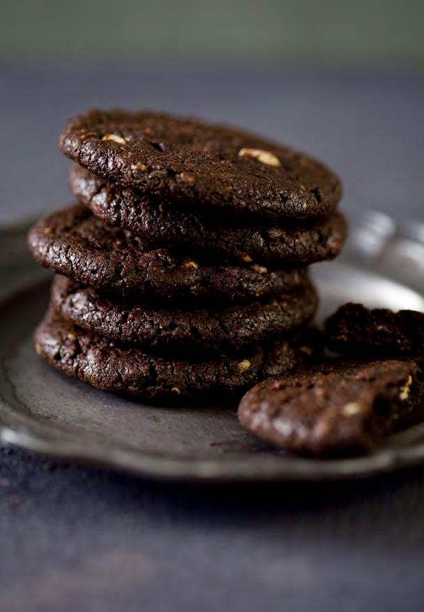 07 Double Chocolate Biscuits 125g NoMU Decadent Hot Chocolate pieces 125g unsalted butter ¾ cup brown sugar 1 egg 1 tsp NoMU Vanilla Extract 1 cup flour, sifted 3 tbsp NoMU Cocoa powder, sifted 1 tsp