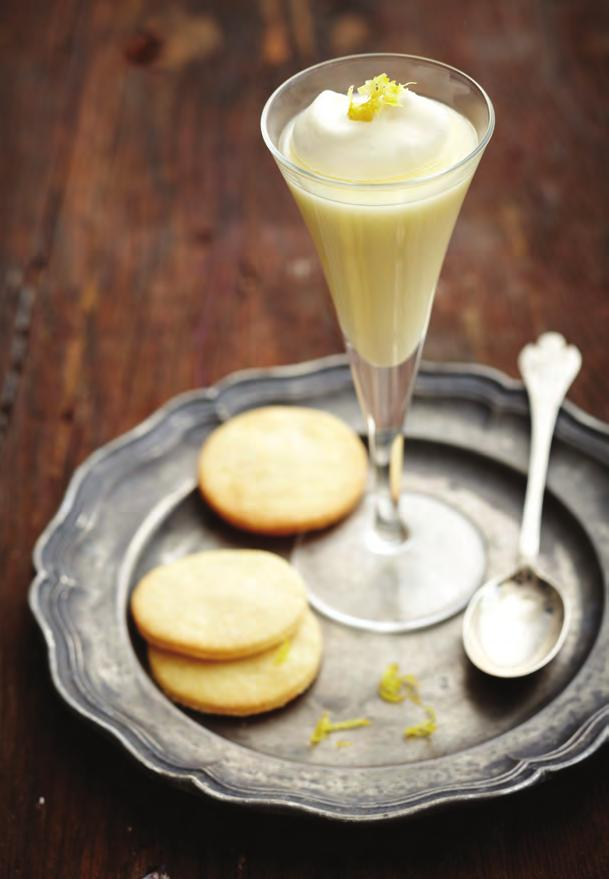 08 Lemon Creams 250ml double or single cream 100g caster sugar 2 tbsp freshly squeezed and strained lemon juice To serve: Lightly whipped cream Zest of lemon Butter biscuits to serve (See 1-2-3
