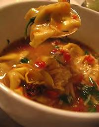Tortellini and Spinach Soup Serves: 6 Serving Size: 1½ cups 8 cups low-sodium chicken or vegetable stock 1 pound bag fresh or frozen chopped spinach* 4 medium carrots,* grated or thinly sliced (~2