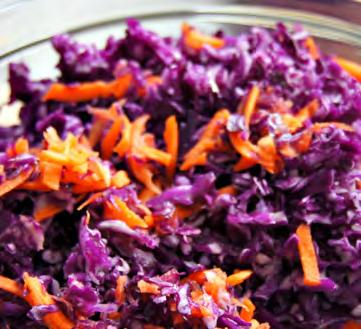 Carrot Confetti Salad Serves: 6 Serving Size: ¾ cup 3 large carrots*, grated (~2 cups) 1/4 pound red cabbage*, grated (~1 cup) 2 tablespoons vinegar (try apple cider) 2 tablespoons canola oil (try