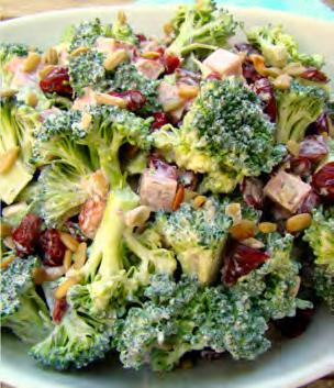 Broccoli Salad Serves: 6 Serving Size: 1 cup ½ tablespoon turkey bacon or bacon bits 1 large bunch broccoli*, just tops (~4 cups) 1 small red onion*, diced (~1/4 cup) 1 (4 oz.