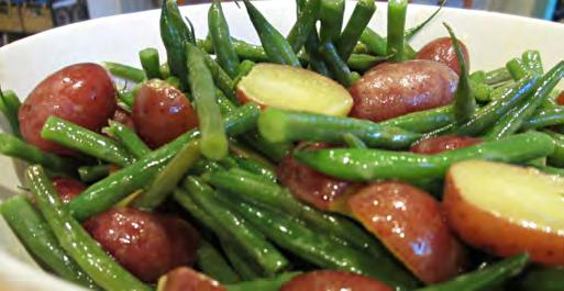 Green Bean and Potato Salad Serves: 8 Serving Size: 1 cup Salad 1 pound green beans*, cut and steamed (~3 cups) 4 large potatoes, diced and boiled (~4 cups) 2 green onions, chopped (~1/4 cup)