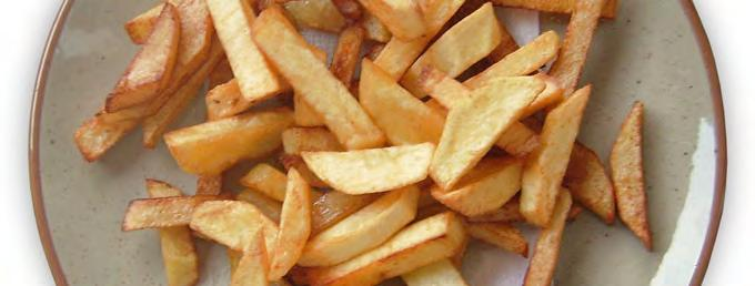 Oven French Fries Serves: 6 Serving Size: 2/3 potato 4 medium potatoes 1 tablespoon canola oil or vegetable spray 1. Preheat oven to 400 F. 2. Wash well and cut potatoes into long strips (about ½ inch thick).