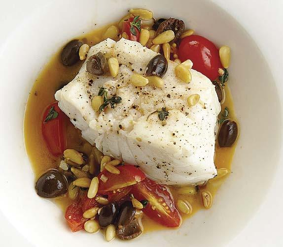 tuesday Black Cod with Pine Nuts, Tomatoes, and Olives Active total time: 25 minutes Toasted pine nuts provide a nice textural contrast to the firm, flaky fish in this easy dinner recipe. 1 Tbs.