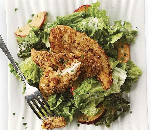 wednesday Almond-Crusted Chicken and Nectarine Salad with Buttermilk-Chive Dressing Active total time: 35 minutes This time of year, salad takes center stage.