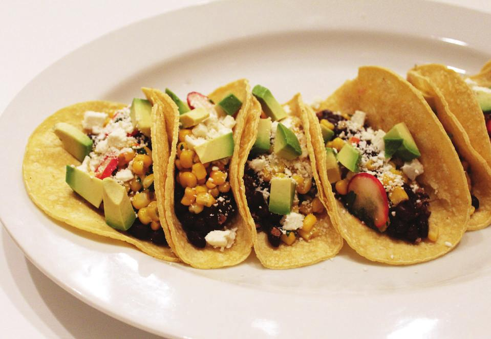 DINNERS BLACK BEAN & CORN TACOS YIELDS: 1 SERVING PREP TIME: 25 MINUTES CORN & FETA SALAD 1/4 cup Frozen Sweet Corn 1 teaspoon Cilantro 1 medium Radish 1/2 Lime, zest and juice 1 teaspoon Olive Oil