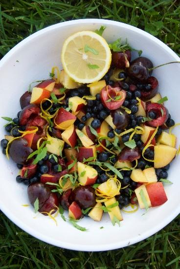 Fruit Salad [Serves 2] 1 peach, chopped 1 nectarine, chopped ½ cup cherries, pits and stems removed ½ cup blueberries