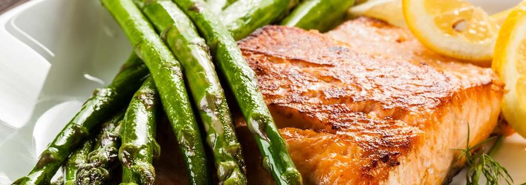 PALEO DINNER 13 Mustard Crusted Salmon with Roasted Asparagus Cook Time: 15 min Serving: 2 2 6-ounce salmon fillets 8 ounces asparagus 1 tablespoon garlic infused olive oil sea salt to taste fresh