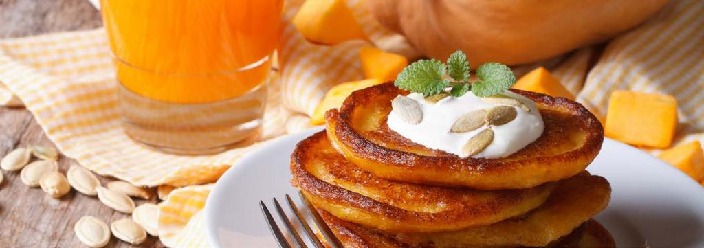 PALEO BREAKFAST 2 Paleo Pumpkin Pancakes Cook Time: 10 min Serving: 2 ½ ripe banana 2 T. pumpkin puree 2 Dashes Cinnamon Dash Nutmeg 2 eggs Mash the banana and then mix in the pumpkin.