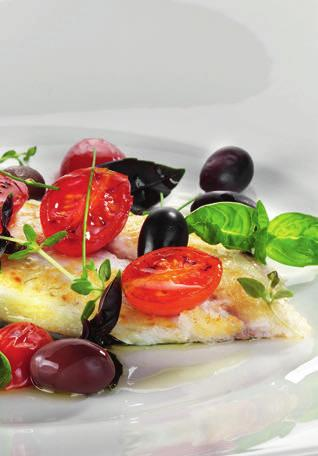 MEDITERRANEAN GILTHEAD Serves 3/6 3-6 cods weighing 350/400g each 150g of cherry tomatoes 130g of taggiasche olives 25g of fresh basil 2 cloves of garlic 100 ml of white wine salt, pepper