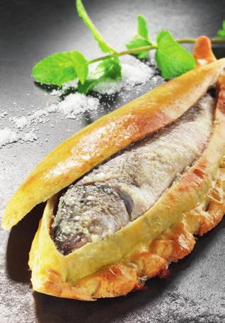 FISH IN CRUST Serves 4 4 sea bass or cod weighing 300g each 500g of table salt 500 g of plain flour 300g of water pink pepper fresh thyme fennel seeds parsley 1 clove of garlic some rosemary marjoram
