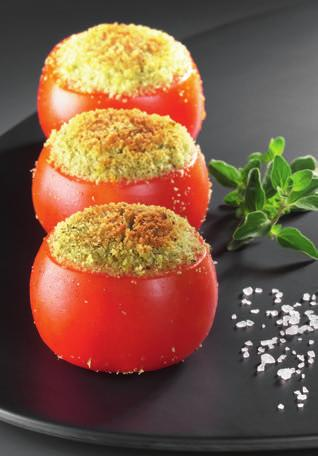 TOMATO GRATIN 88VEGETABLES Preparation: 30 min Cooking time*: 30-40 min oven proof dish (approx. 26cm long) If you like, add a few mint leaves to the herby bread for extra flavour.