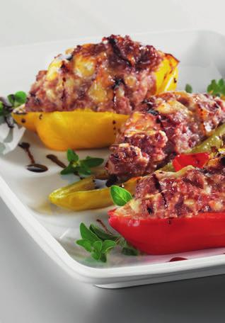 STUFFED PEPPER 90VEGETABLES Preparation: 30 min Cooking time*: 50-60 min rectangular non-stick dish Serves 8 4 medium sized peppers 150g of sausage meat 150g of minced beef 150 g of cooked ham,